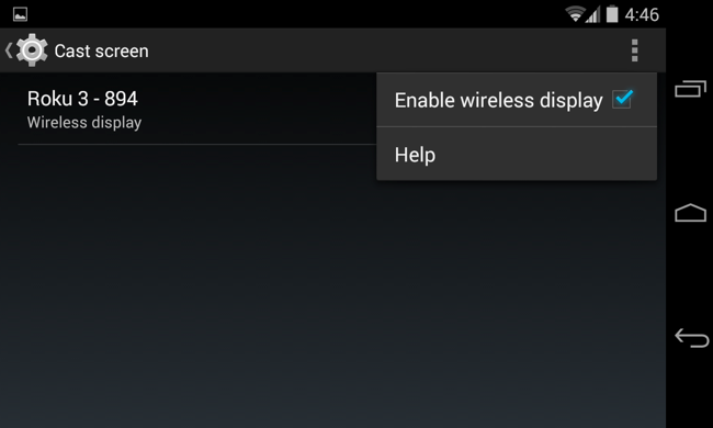 miracast android setting