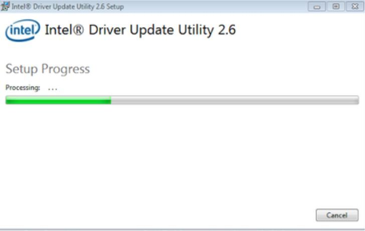 Intel Driver Update Utility Tool setup progress